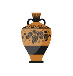 ancient old greek wine vase with ornamental grapes vector image