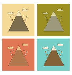 Assembly flat icons mountain stones fall vector