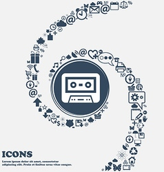 audiocassette icon in the center Around the many vector image