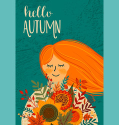 autumn with cute woman design vector image