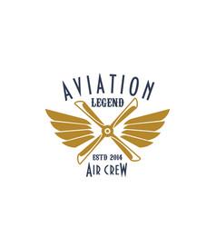 Aviation pilot legend icon airplane vector