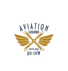 aviation pilot legend icon of airplane vector image
