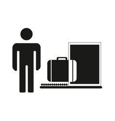 baggage inspection icon customs revision web vector image