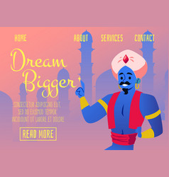 Banner for website with fairy arabian genie flat vector