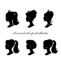 beautiful female silhouettes set modern and vector image