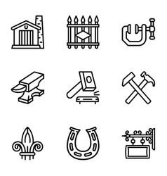 Blacksmith equipment icon set outline style vector