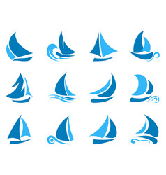 blue abstract sailboat icon vector image