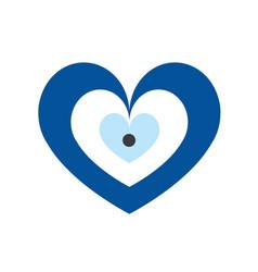 Blue evil eye in heart shape vector