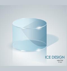 Blue ice cylinder glass cylinder vector