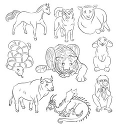 bull dog dragon horse monkey rabbit sheep vector image