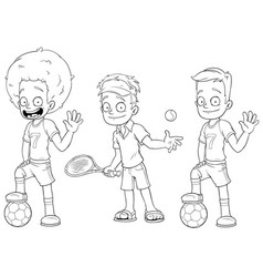 cartoon football tennis players character set vector image