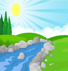 Cartoon nature landscape background with green mea vector