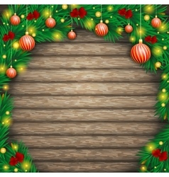 Christmas background of boards in an arch fir vector