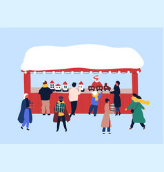 Christmas fair souvenir stall flat vector