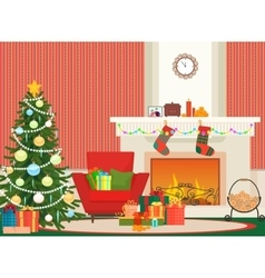 Christmas livingroom flat interior vector