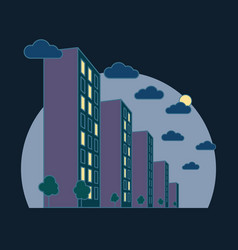 City landscape view at night high buildings with vector