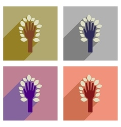 Concept of flat icons with long shadow leaves hand vector