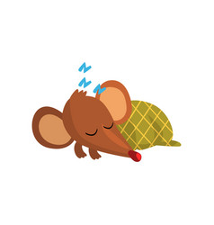Cute brown mouse sleeping on the floor wrapped in vector