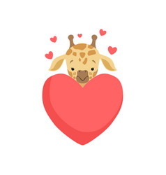 Cute little giraffe with big red heart funny vector