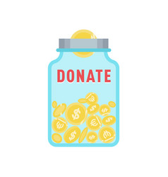 Donate button with coins jar and dollar vector