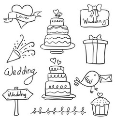 doodle of wedding element style hand draw vector image
