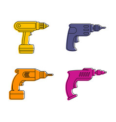 drill icon set color outline style vector image