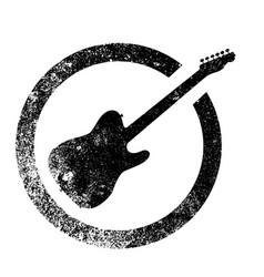 electric guitar ink stamp vector image