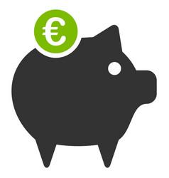 euro piggy bank flat icon vector image