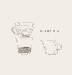 filter drip coffee sketch vector image