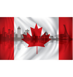 Flag of canada with montreal skyline vector