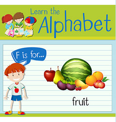 Flashcard letter F is for fruit vector image