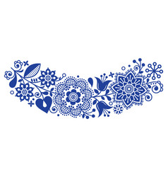 Folk art round ornamental frame floral vector