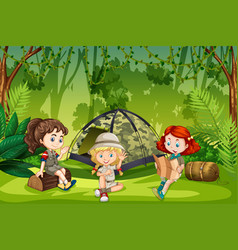 Girl scouts camping outdoors vector