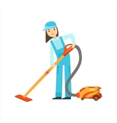 Girl Using The Vacuum Cleaner Cleaning Service vector