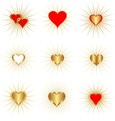 Golden hearts vector
