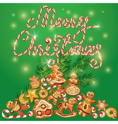 Greeting holiday Card of xmas gingerbread vector image
