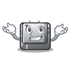 Grinning t button installed on character computer vector