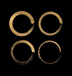 grunge circle gold brush stroke vector image