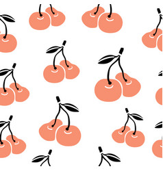 hand drawn seamless pattern with cherries vector image