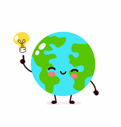 happy cute earth planet with lightbulb vector image