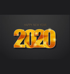 happy new year 2020 with golden polygonal numbers vector image