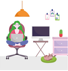 home office workspace girl with laptop computer vector image