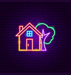 home tree neon sign vector image