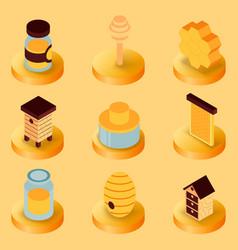 honey flat isometric icons vector image