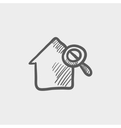 House and magnifying glass sketch icon vector