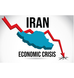 iran map financial crisis economic collapse vector image