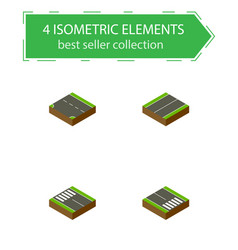 Isometric way set of downward plane strip and vector