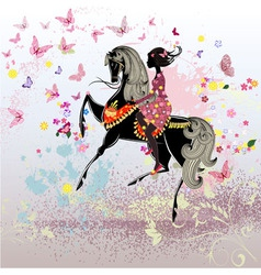 Khokhloma horse girl vector