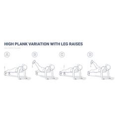 Leg raise plank female home workout exercise vector