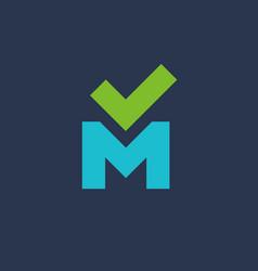 Letter m check mark logo icon design template vector